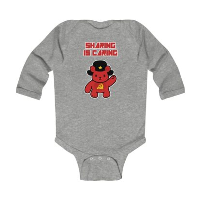 sharing is caring share bear babygrow heather grey