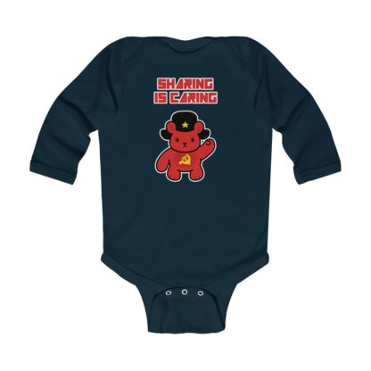 sharing is caring share bear babygrow navy