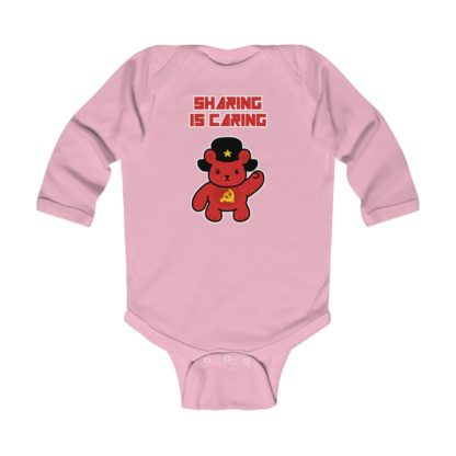 sharing is caring share bear babygrow pink
