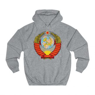soviet crest ussr hoodie heather grey