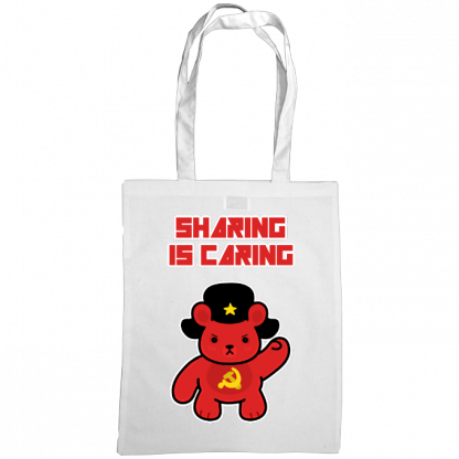 Sharing is caring sharebear bag white