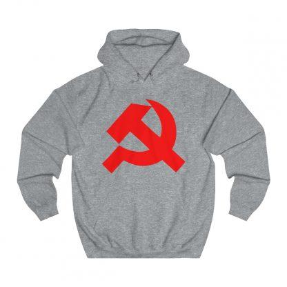 Hammer and sickle hoodie heather grey