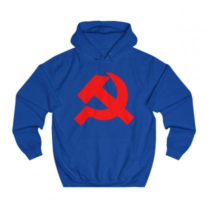 Hammer and sickle hoodie royal blue