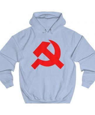 Hammer and sickle hoodie sky blue