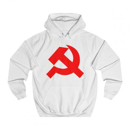 Hammer and sickle hoodie white