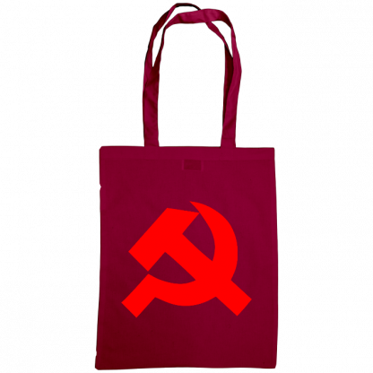 hammer and sickle tote bag burgundy