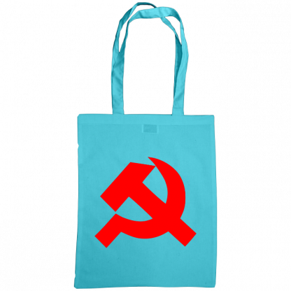hammer and sickle tote bag surf blue